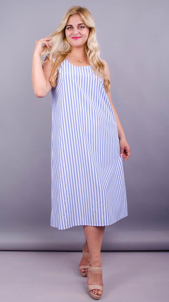 Море. Практична сукня великих розмірів. Блакитна смуга.