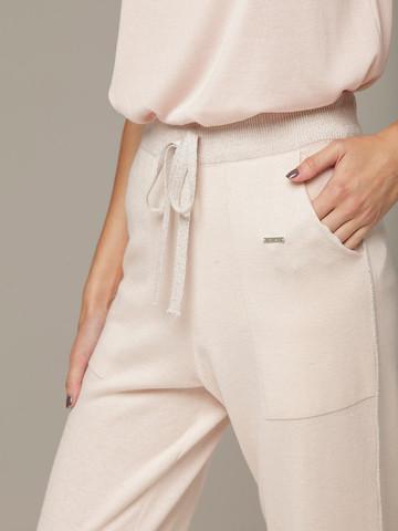 Розовые брюки из шёлка и кашемира спортивного силуэта - фото 3