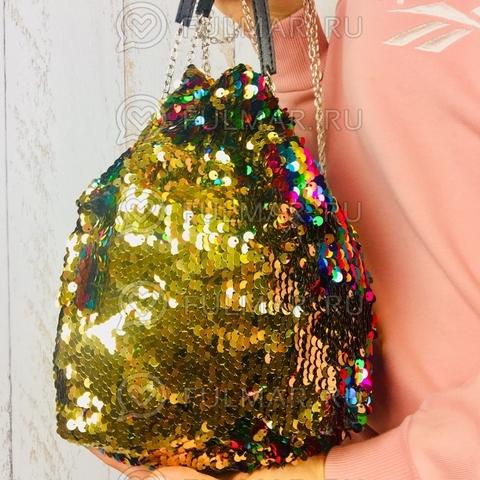 Сумка-мешок с пайетками меняющая цвет Радужно-Золотистый