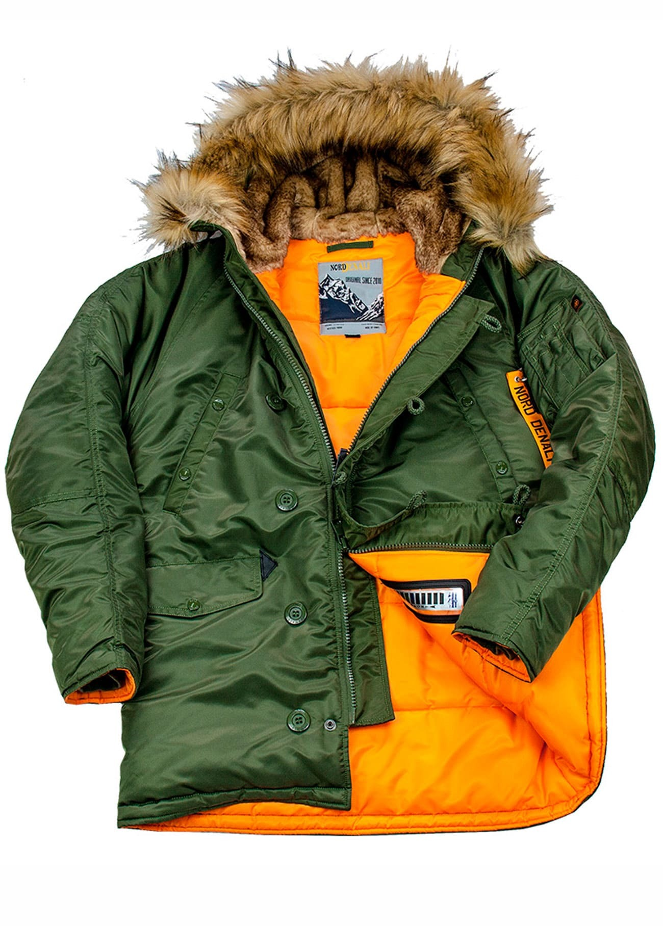 Куртка Аляска  N-3B  Husky Denali  2019 (зеленая - r.green/orange)