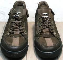 Кроссовки без шнурков на резинке мужские демисезонные Luciano Bellini 71748 Brown