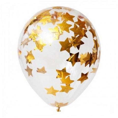 Латексный воздушный шар, с конфетти золотые звезды