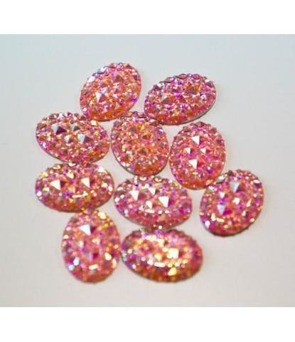 61 Стразы овальные розовые 10 шт