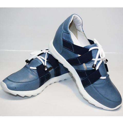 Модные женские кроссовки на танкетке Ledy West 1484 115 Blue.