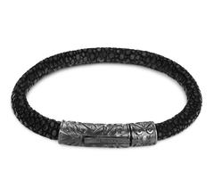 Браслет Nialaya Black Stingray Bracelet with Black Ruthenium Lock из натуральной кожи