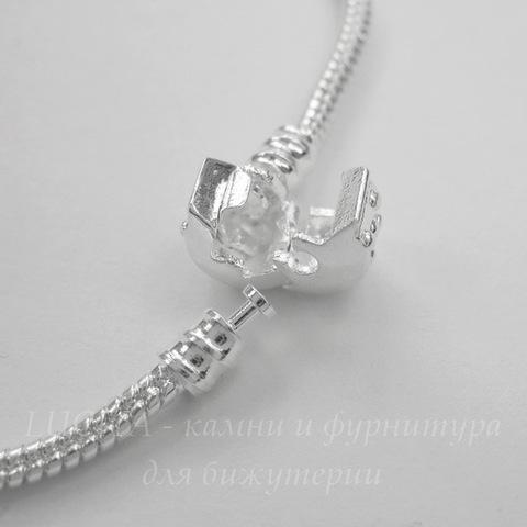 """Основа для браслета """"Пандора"""" с замком - защелкой, 19 cм (цвет - серебро)"""
