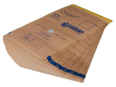 Пакеты из крафт-бумаги самоклеящиеся с индикатором 100*200 мм