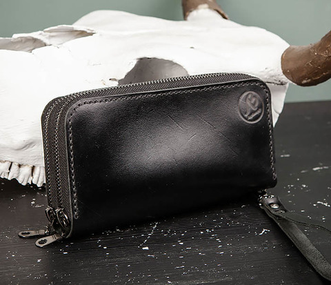 Мужской черный клатч на 2 молнии ручной работы