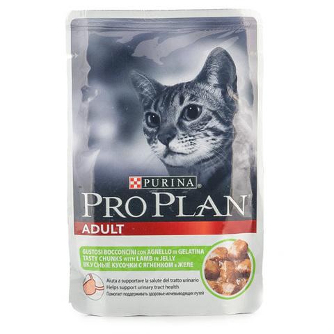 Корм для кошек Pro Plan кусочки с ягненком в желе 85г