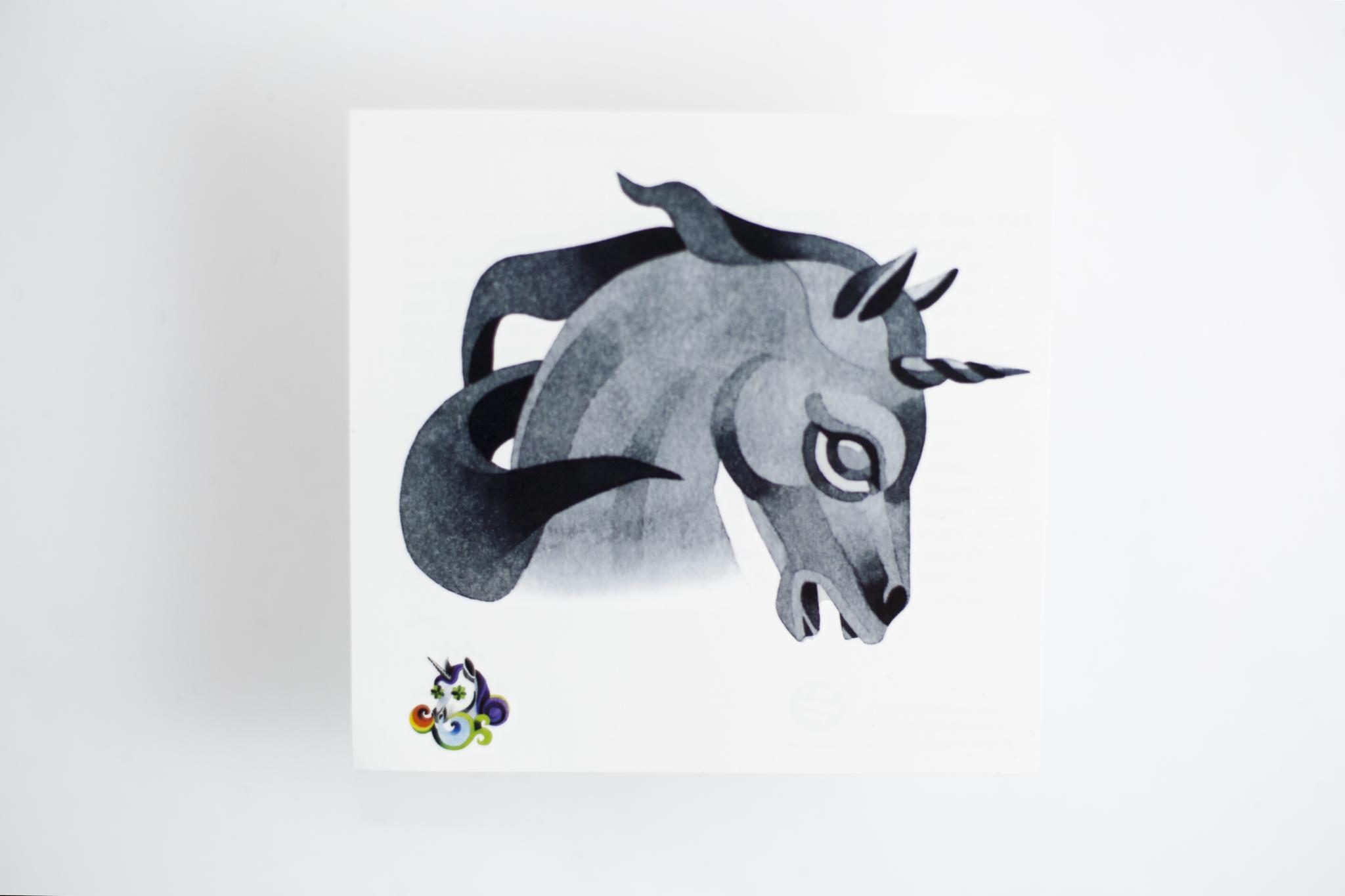 Переводная татуировка Unicorn Profile