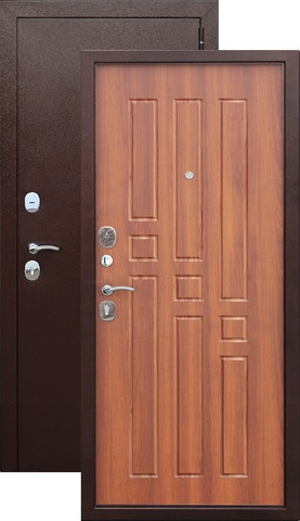 Дверь входная Гарда 8 мм , 2 замка, 1,2 мм  металл, (медь антик+дуб рустикальный)