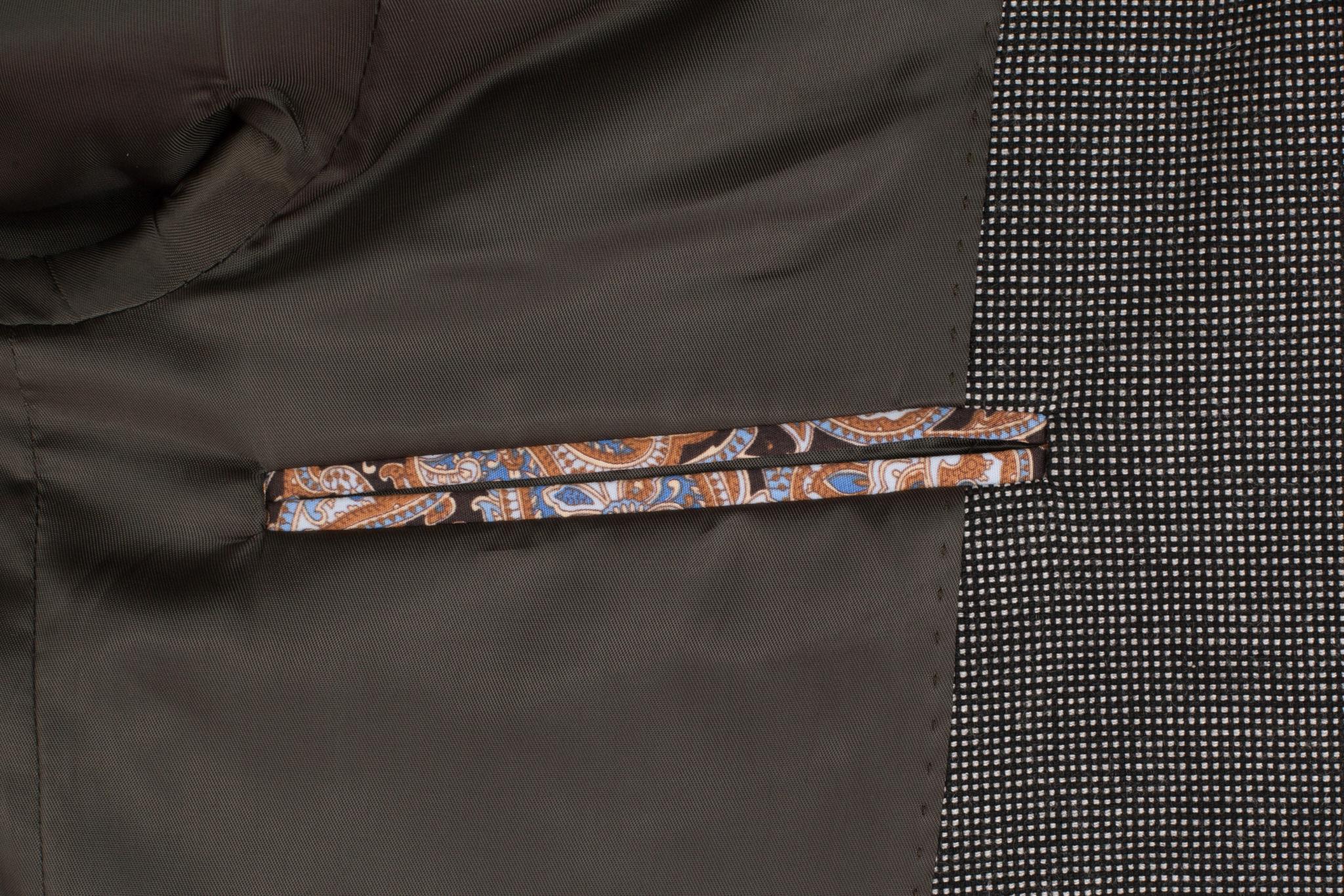 Серый хлопоковый пиджак, внутренний карман