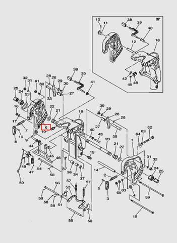 Скоба струбцины правая  для лодочного мотора T40 Sea-PRO (18-6)