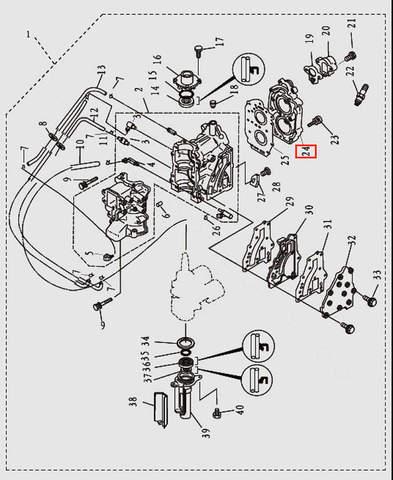 Головка блока цилиндров для лодочного мотора T9.8 Sea-PRO (2-24)