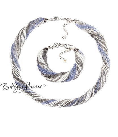 Комплект из бисера серо-синий 24 нити