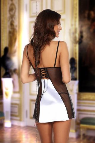Эротическая сорочка женская черно-белая с прозрачными вставками