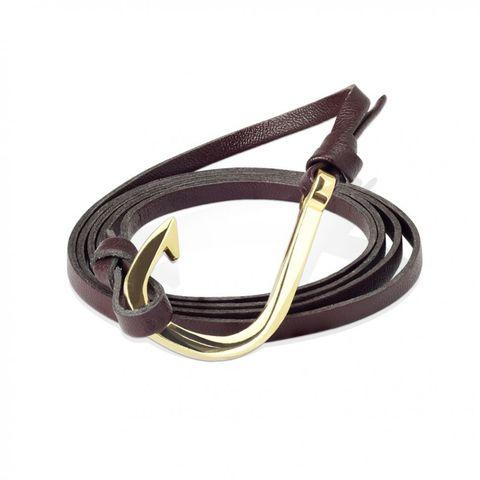В наличии! Кожаный браслет-намотка коричневый с крючком SPIKES SL0224-BRN