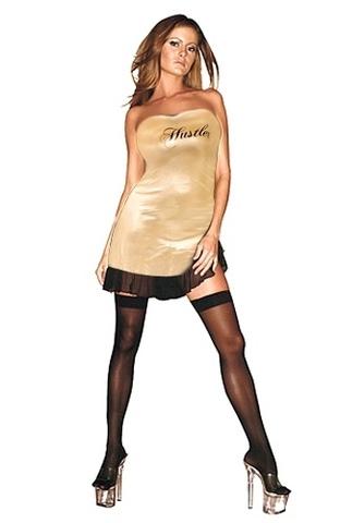 Сексуальное клубное платье-бандо HUSTLER золотое