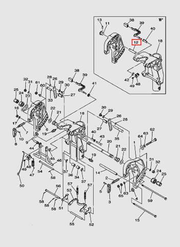 Палец стопора подъема для лодочного мотора T40 Sea-PRO (18-12)