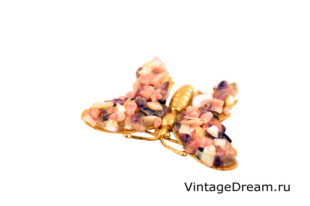 """Оригинальная брошь """"Бабочка"""" с натуральными камнями от Miriam Haskell"""