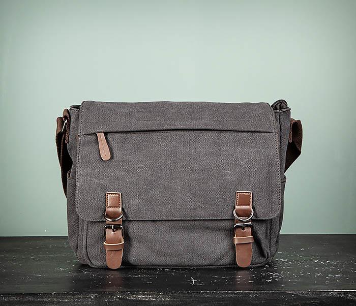 BAG504-1 Удобная городская сумка портфель из ткани серого цвета