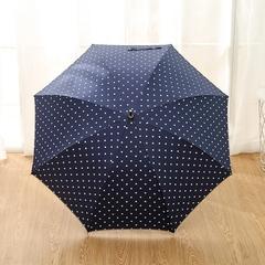 Женский облегченный зонт-трость, с защитой от УФ, ветрозащитный, 8 спиц, в стиле ретро, мелкий горох (синий)