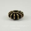 Бусина - рондель (цвет - античная бронза) 12х5,7 мм