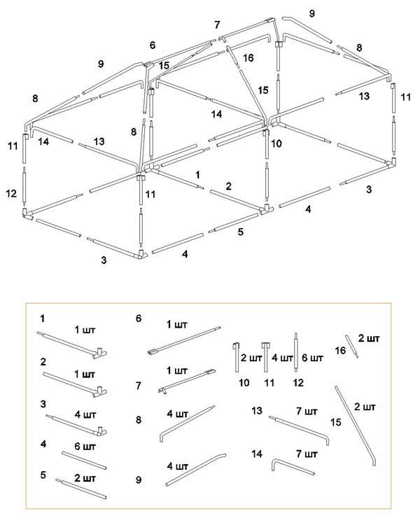 Схема сборки шатра Митек Пикник 6,0Х3,0 Ø25 мм