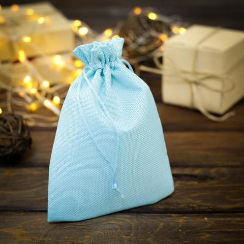 Мешочек из холщи, голубой, 15х21 см