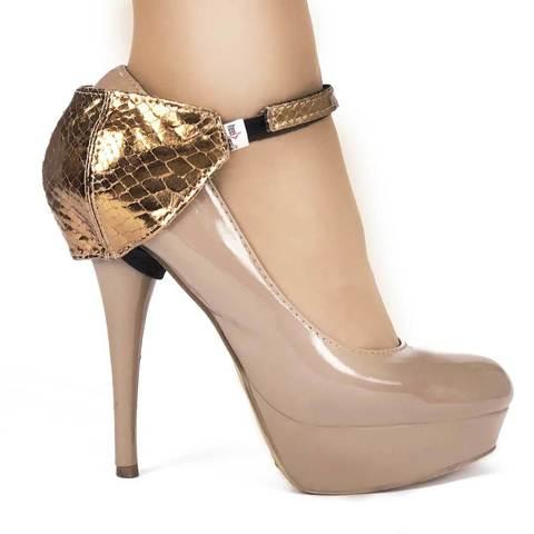 Автопятка для женской обуви на каблуке золотая рептилия