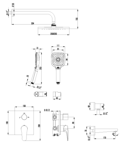 Lemark Shift Смеситель для ванны и душа встраиваемый (LM4322C)