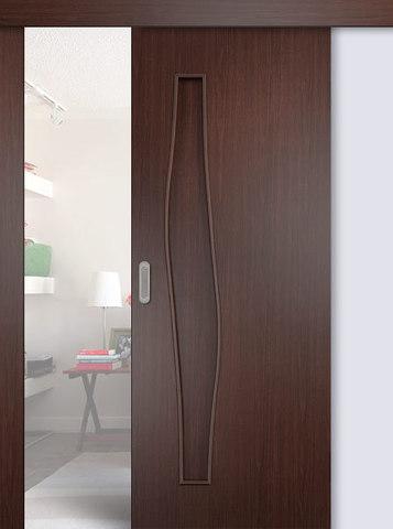 Дверь раздвижная Сибирь Профиль Волна (С-10), цвет венге 3D, глухая
