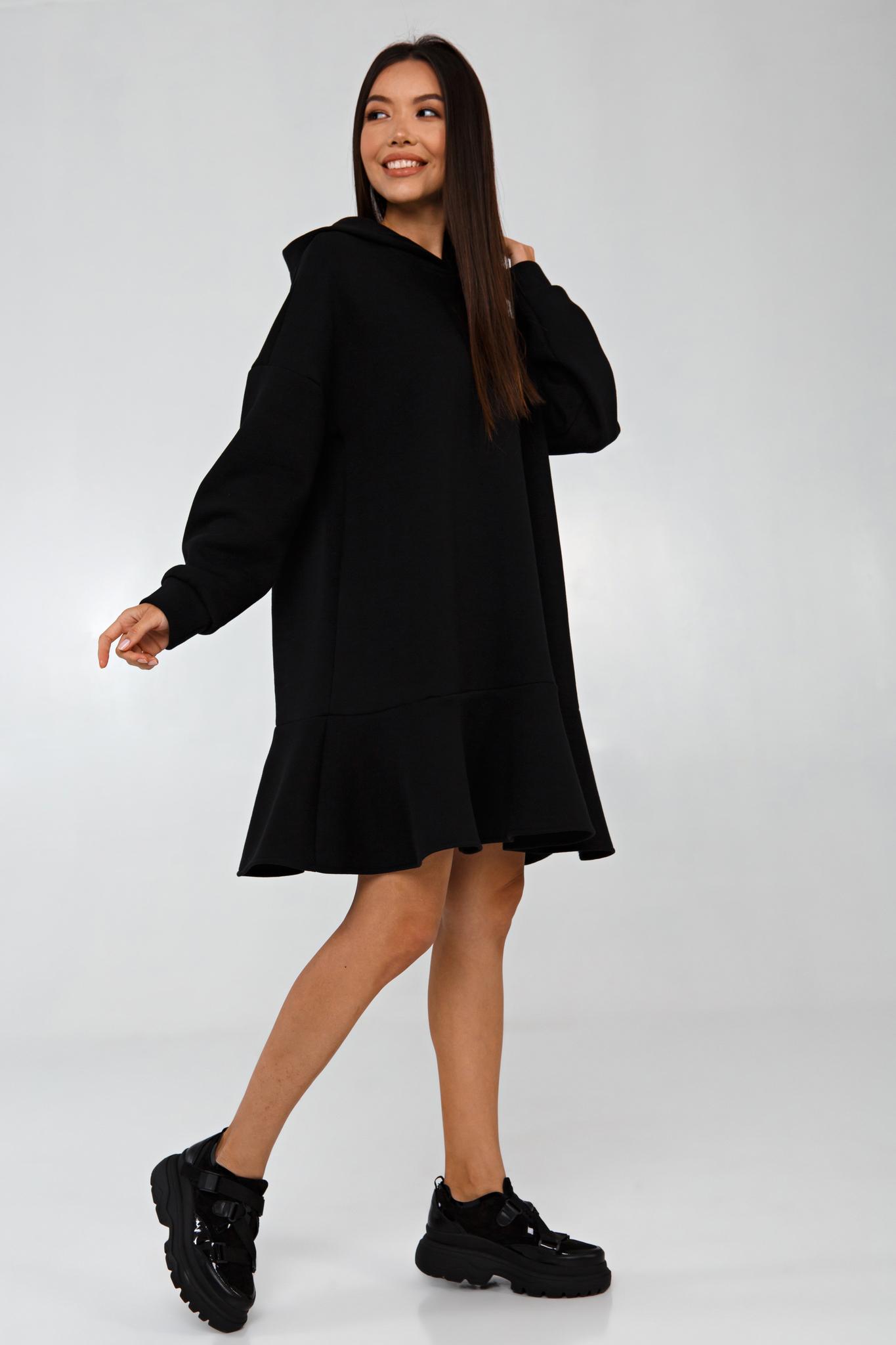 Платье-худи oversize черное с начесом YOS
