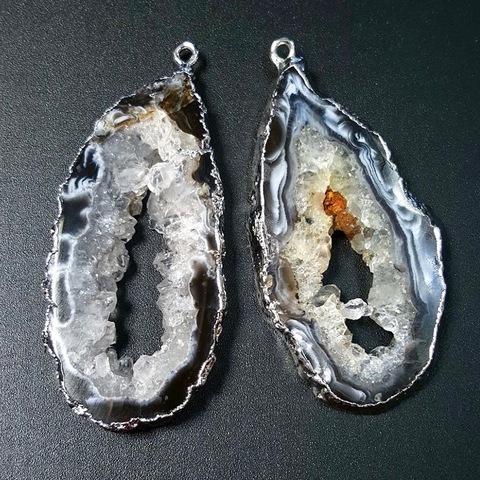 Подвески парные для серег 55 мм друза агата (оправа серебро) 1 пара