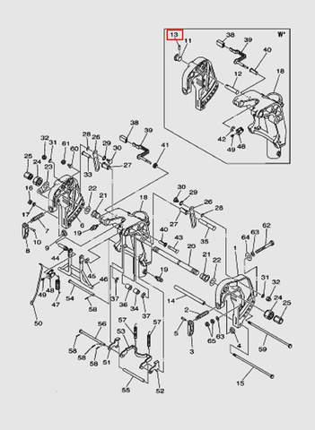Штифт стопора подъема для лодочного мотора T40 Sea-PRO (18-13)