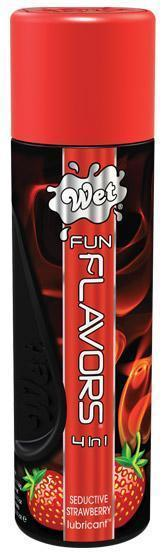 Возбуждающие: Разогревающий лубрикант Fun Flavors 4-in-1 Seductive Strawberry с ароматом клубники - 121 мл.