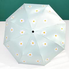 Женский облегченный зонт, с защитой от УФ, 8 спиц, принт- Ромашки (светло-зеленый)