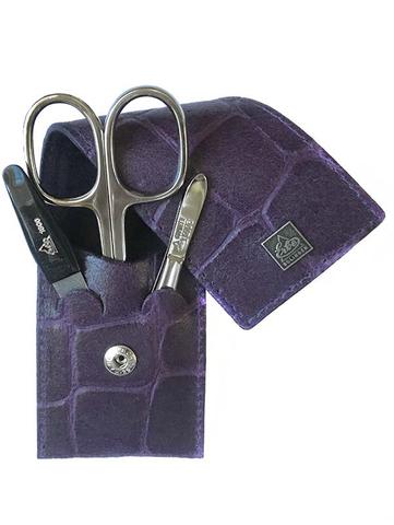 Немецкий фирменный маникюрный набор в 3 предмета ножницы двухсторонний пинцет пилка из высококачественной стали в фиолетового цвета в футляре из натуральной кожи Solinger Erbe 9714ER в подарочной коробке