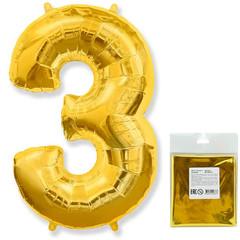 Цифра, 3, Золото, F 40''/102 см, 1 шт. в упаковке