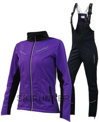 Женский утеплённый лыжный костюм Nordski Premium 2018 Violet-Black с высокой спинкой
