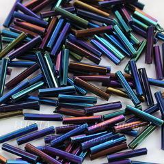 59135 Бисер Preciosa стеклярус граненый 11х2 мм, Ирис синий