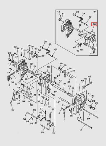 Кронштейн шарнирный S для лодочного мотора T40 Sea-PRO (18-18)