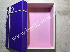 Подарочная коробочка с кожаным бантиком. Цвет Сиреневый. Размер М 21х14х8 см.