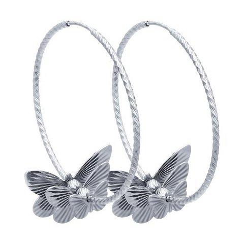 Серьги конго из серебра с бабочками