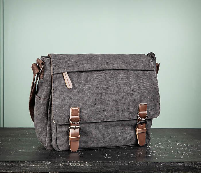 BAG504-1 Удобная городская сумка портфель из ткани серого цвета фото 02