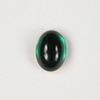 Кабошон овальный Чешское стекло, цвет - темно-зеленый, 8х6 мм