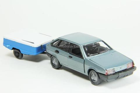 VAZ-2109 Lada Samara hatchback 5-doors gray-blue metallic with trailer Skif Agat Mossar Tantal 1:43