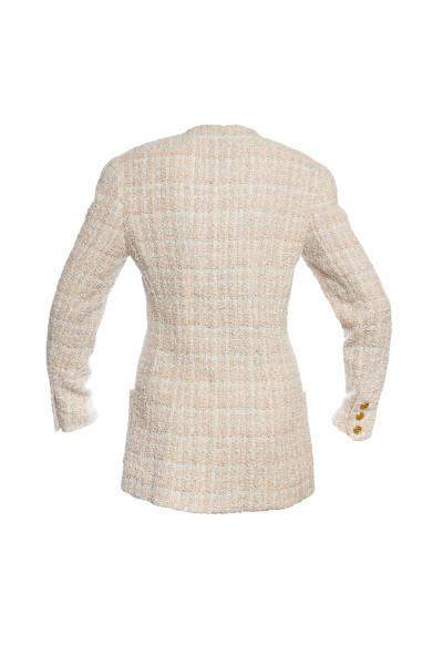 Изысканный удлиненный жакет из твида светлых оттенков от Chanel, 36 размера