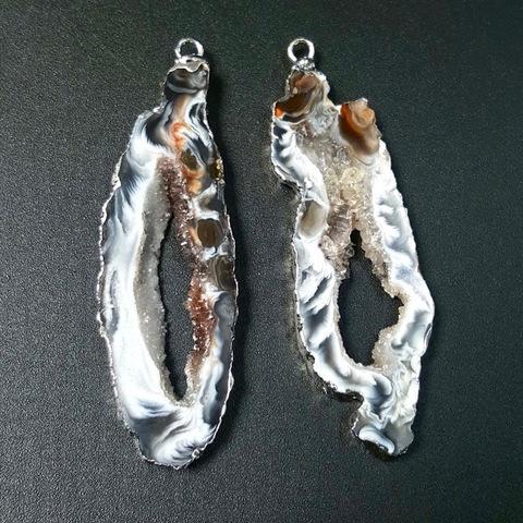 Подвески парные для серег 57 мм друза агата (оправа серебро) 1 пара