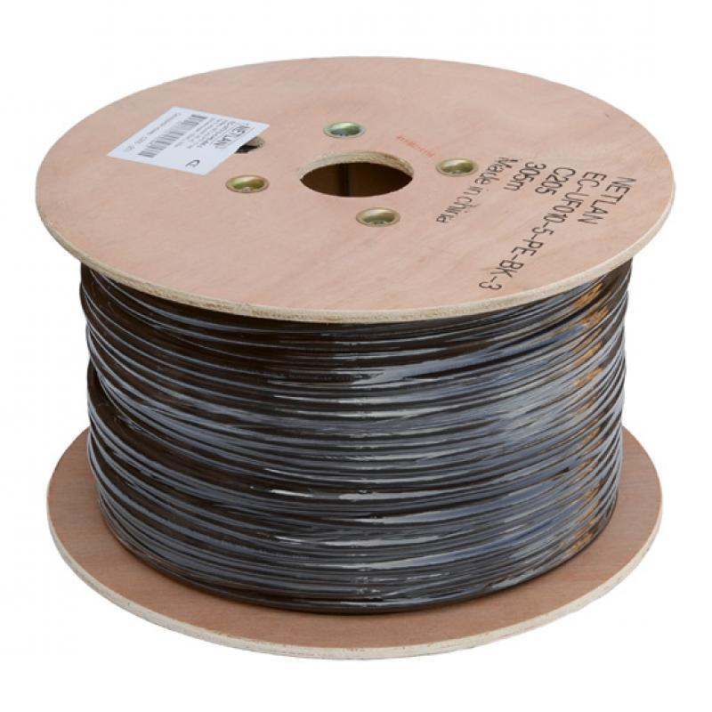 Кабель NETLAN F/UTP 10 пар, Кат 5 (Класс D), 100МГц, одножильный, BC (чистая медь), внешний, PE до -40C, черный, 305м, купить оптом по низкой цене